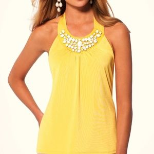 Yellow Ruched Lined Embellished Stretch Halter